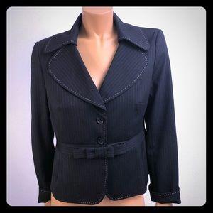 Sandra Angelozzi black striped blazer bow Sz M/L